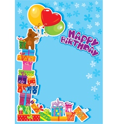 baby boy birthday card with teddy bear vector image