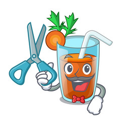 barber character healthy carrot smoothie for diet vector image