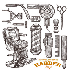 barbeshop tools and accessories in vintage style vector image