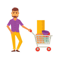 bearded cartoon man stands with cart full of vector image