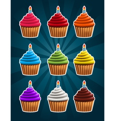 Birthday cupcakes vector