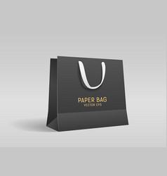 black paper bag with black cloth handle design vector image