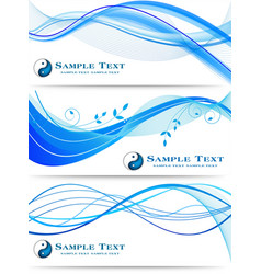 Blue wavy abstract banners set vector