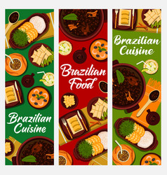 Brazilian cuisine banners food of brazil vector