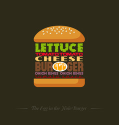 Burger recipe info graphic lettering vector