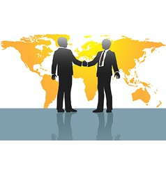 Business men handshake on world map vector