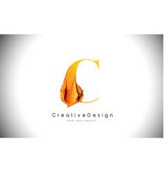 c orange letter design brush paint stroke gold vector image