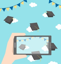 Celebrations of graduation with smartphone vector