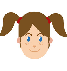 Character woman female ponytails blue eyes and vector