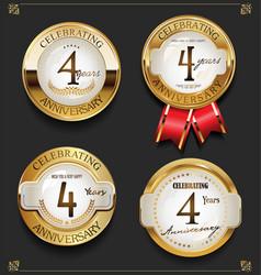 Collection of elegant golden anniversary vector