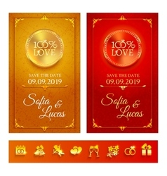 Collection of invitation and wedding symbols vector