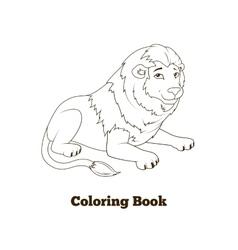 Coloring book lion african animal cartoon vector