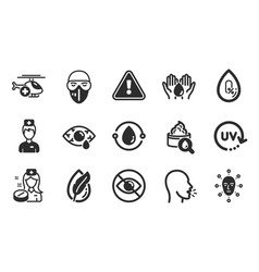 cough nurse and medical helicopter icons set vector image