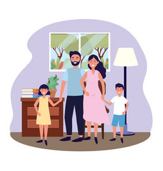 couple with children vector image