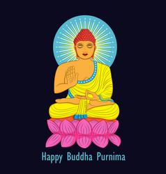 creative for happy buddha purnima vesak holiday vector image