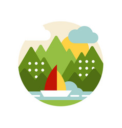 creative landscape with green forest river and vector image