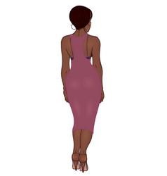 curvy african american girl in casual wear vector image
