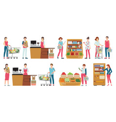 customer and cashier in supermarket isolated on vector image