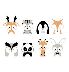 Cute animals kids characters portraits deer vector