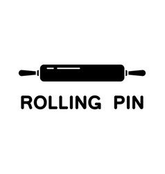 Cutout silhouette rolling pin icon outline logo vector