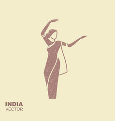 Dancing indian woman in traditional clothing flat vector