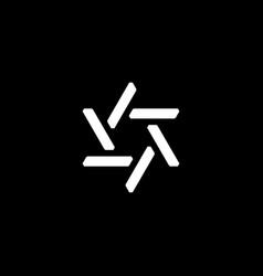 david star symbol with cut straight line art icon vector image