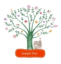 Easter greeting card with tree vector