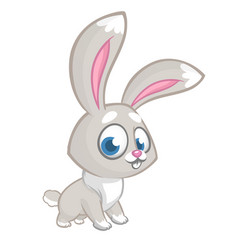 Easter happy rabbit cartoon isolated vector