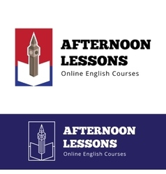 English courses logo concept with big ben vector