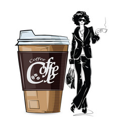 Fashion girl in sketch-style with cup cofe vector