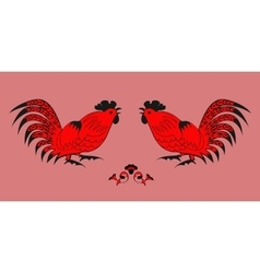 Fighting of roosters on a red background vector