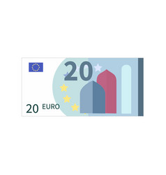 flat simple twenty euro banknote on white vector image