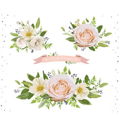 Flower bouquet design object element set peach vector