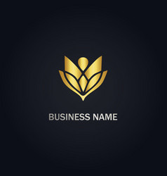 flower petal beauty gold logo vector image