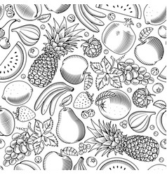 Fruit and berries seamless pattern vector