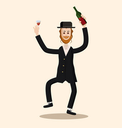 Funny a dancing jew character happy shavuot vector