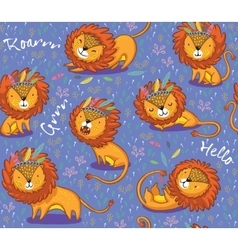 Funny lions seamless pattern with purple vector image