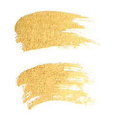 gold paint smear stroke stain set abstract gold vector image