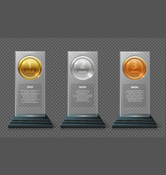 gold silver and bronze medal trophy realistic vector image