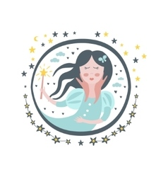 Good witch fairy tale character girly sticker in vector