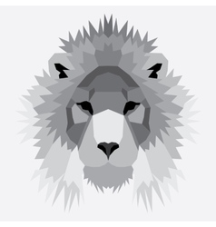 Gray low poly lion vector