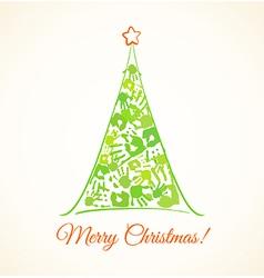 Green christmas tree made handprints vector