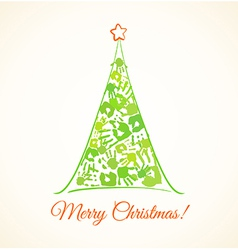 Green Christmas tree made of the handprints vector