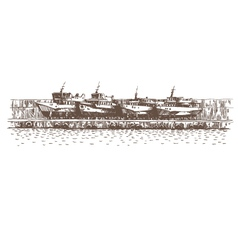 Hand drawn boats vector image