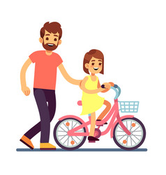 Happy dad teaching daughter cycling bike vector