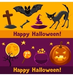 Happy halloween banners with characters and vector