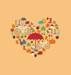 heart flat autumn icons vector image