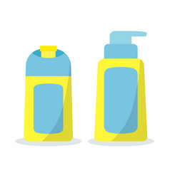 icon set bath cosmetic bottles in flat cartoon vector image