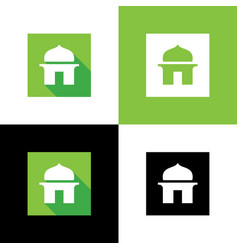 Islamic mosque logo design flat style icon vector