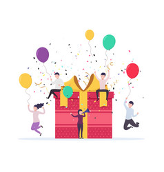 joyful people jump out near a gift box with vector image